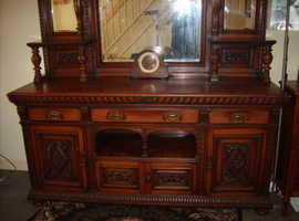 Victorian solid oak mirror backed sideboard open to offers