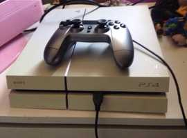 White PS4 with box and controller