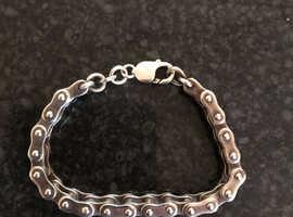Solid silver men's chain bracelet