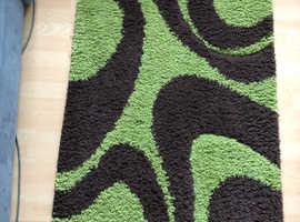 Lime green and brown rug