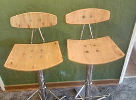 Chrome and wood stools x2