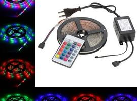 5M 270 LEDs 2835 SMD Remote Control RGB Color LED Strip Light with 24 Key IR Remote + Power Adapter DC12V