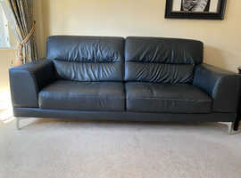 Black Leather Sofa - 2 years old and barely used