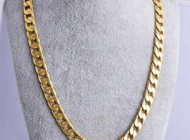 18K Yellow Real Solid Gold Filled New Curb Mens Chain Necklace Jewellery 7mm Uk