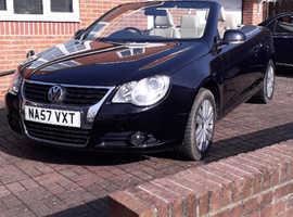 Volkswagen Eos, 2007 (57) Black Convertible, Manual 6 gear FSi  Petrol, 89,000 miles