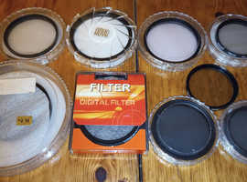 Camera filters: polarising, UV, skylight, mint to vgc, 67mm, 2 X 62mm, 2 X 58mm, 3 X 52mm