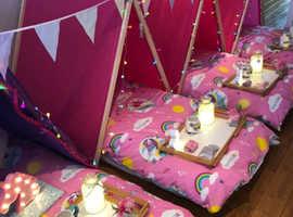 Unicorn themed sleepover parties