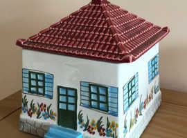 Rare. Lovely house shaped, china storage container or biscuit barrel
