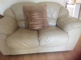 **FREE** Cream Leather 2 Seater Sofa