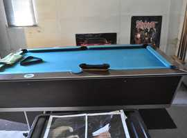 Slate bed pool table with pool balls& snooker balls, cues & score board all as photos £300 reduced £280