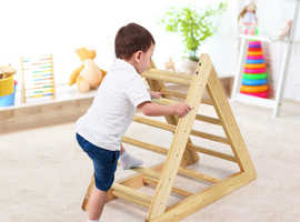 COSTWAY Wooden Climbing Pikler Triangle Ladder for Toddler Step Training (TY327398)