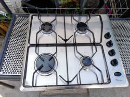 WHIRLPOOL GENERATION 2000 STAINLESS STEEL 4 BURNER GAS HOB - VERY GOOD CONDITION