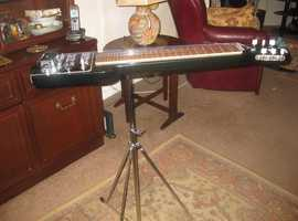 VINTAGE JEDSON HAWAIIAN LAP STEEL SLIDE GUITAR WITH STAND AND HARD CASE.