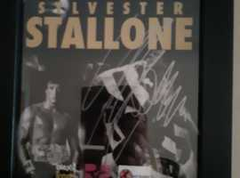 sylvester stallone genuine hand signed, an evening with sylvester stallone programm from manchester arena.