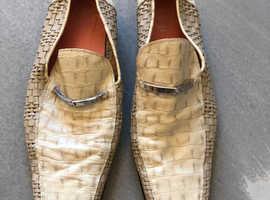 Versace men's cream loafers