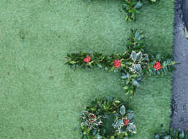 Holly wreaths and crosses