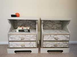 Pair of matching upcycled white bedside drawers