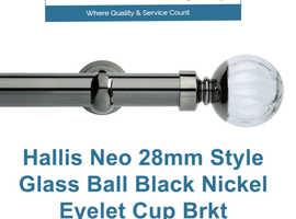 Hallis Neo 28mm Style Glass Ball Black Nickel Eyelet Cup Brkt