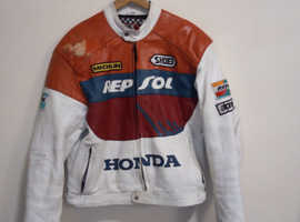 "MEGA RARE 1990's MDK RACING TEAM REPSOL HONDA REPLICA MOTOGP LEATHER JACKET 42"" CHEST"
