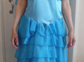 Blue satin dress home made Age 14+