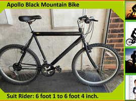 Apollo Black Mountain Bike. 21 speed. 26 inch wheels.
