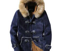 Navy Faux Suede coat