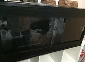 4ft Black matte vivarium with accessories.