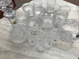 A collection of cut glass items including some crystal