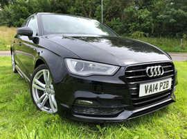 Audi A3, 2014 (14) Black Saloon, Manual Diesel, 90,000 miles