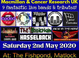 9 rock bands performing live, with free entry! All proceeds to Macmillan & Cancer research UK.