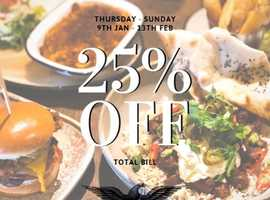 25% OFF YOUR TOTAL BILL