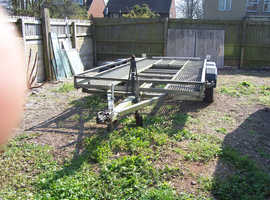 Galvanised car transporter - 5m bed with mechanical lift and ramps.