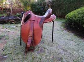 "Snowy river australian leather stock saddle 18"""
