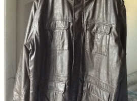 mens dark brown leather look jacket 3 XL