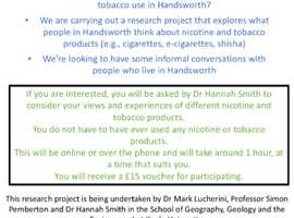 Participants needed for research study! £15 voucher for taking part