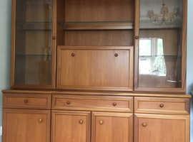 Teak Veneer Four Door Sideboard with Glazed Display Cabinet by Sutcliffe Furniture