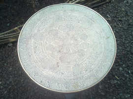 Lovely round table with brass top for sale