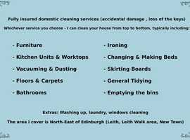 Cleaning Services By Barbara Fully insured cleaner, housekeeper North- East Edinburgh