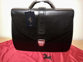 Ferrari Executive elite black leather briefcase. Brand new with tags. bag,case,satchel.laptop.computer.