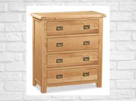 Oak 4 Drawer Chest / FREE HOME DELIVERY OR STORE COLLECTION / 10% Off MARKED PRICE