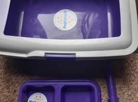 Cat Litter Tray, Scoop & Feeding Bowl Set