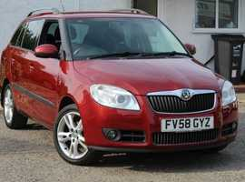 Skoda Fabia  ESTATE 3  1.4  , 2008 (58) Red Estate, Manual Petrol, FSH 9 STAMPS  HPI CLEAR  NEW MOT