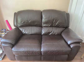 Brown leather recliner two seater couch