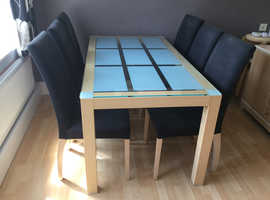 G-Plan glass top dining room table with 6 chairs