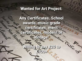 Certificates Wanted for Art Project