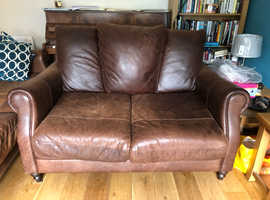 4 seater, 3 seater and chair leather suit in espresso brown with dark wooden feet
