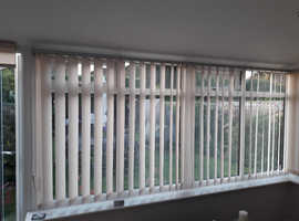 Conservatory Vertical Blinds - Aluminium Tracks Taffetta Peach Natural soft slats