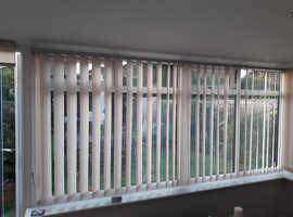 Conservatory Vertical Blinds - Aluminium Tracks Taffetta Peach Natural soft slats