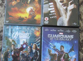 4 DVDS HANNAH, PIRATES OF CARRIBEAN, GUARDIANS OF GALAXY, AVENGERS OF GALAXY