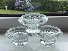 Set of 3 vintage, chunky, crystal glass, candle + tea light holders